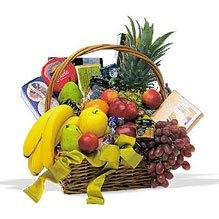 Fruits and gourmet basket