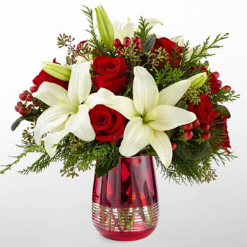 Lilies in Red Bouquet