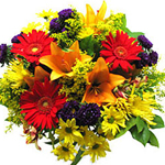 Fall-colored lilies, spring-colored yellow chrysanthemums, summer gerberas and winter blue (or purple) chrysanthemums represent all the best of four seasons to share with your loves one in Russia.